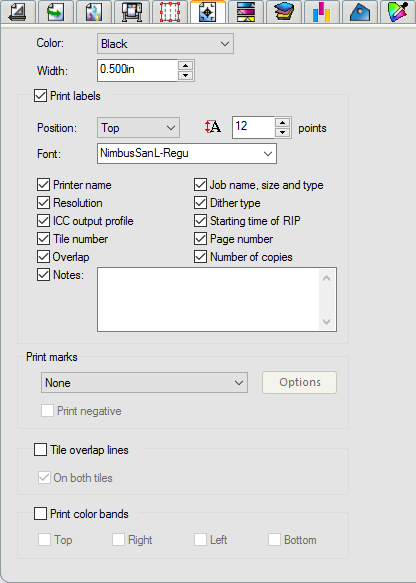 Job Properties Marks and Labels Tab