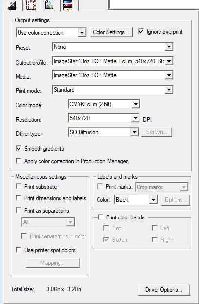 RIP And Print Dialog Box Advanced Tab