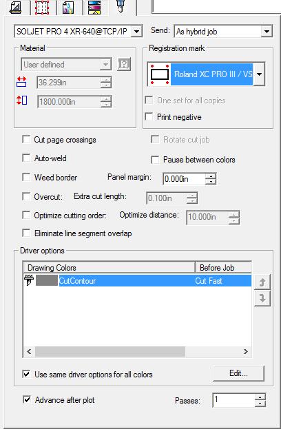 RIP and Print Dialog Box - Contour Tab
